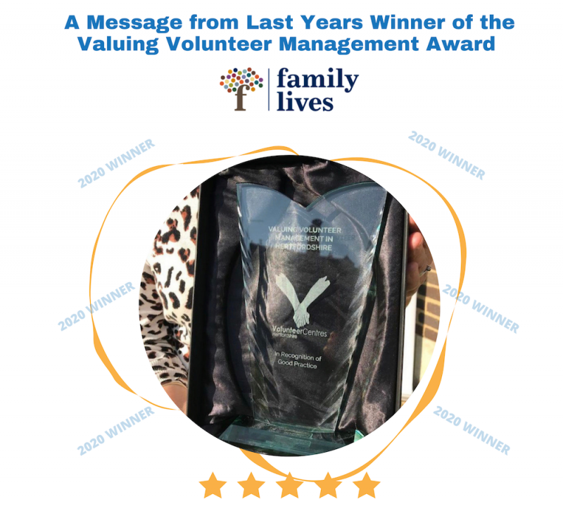 A message from Family Lives, winners of the Valuing Volunteer Management Award in 2020