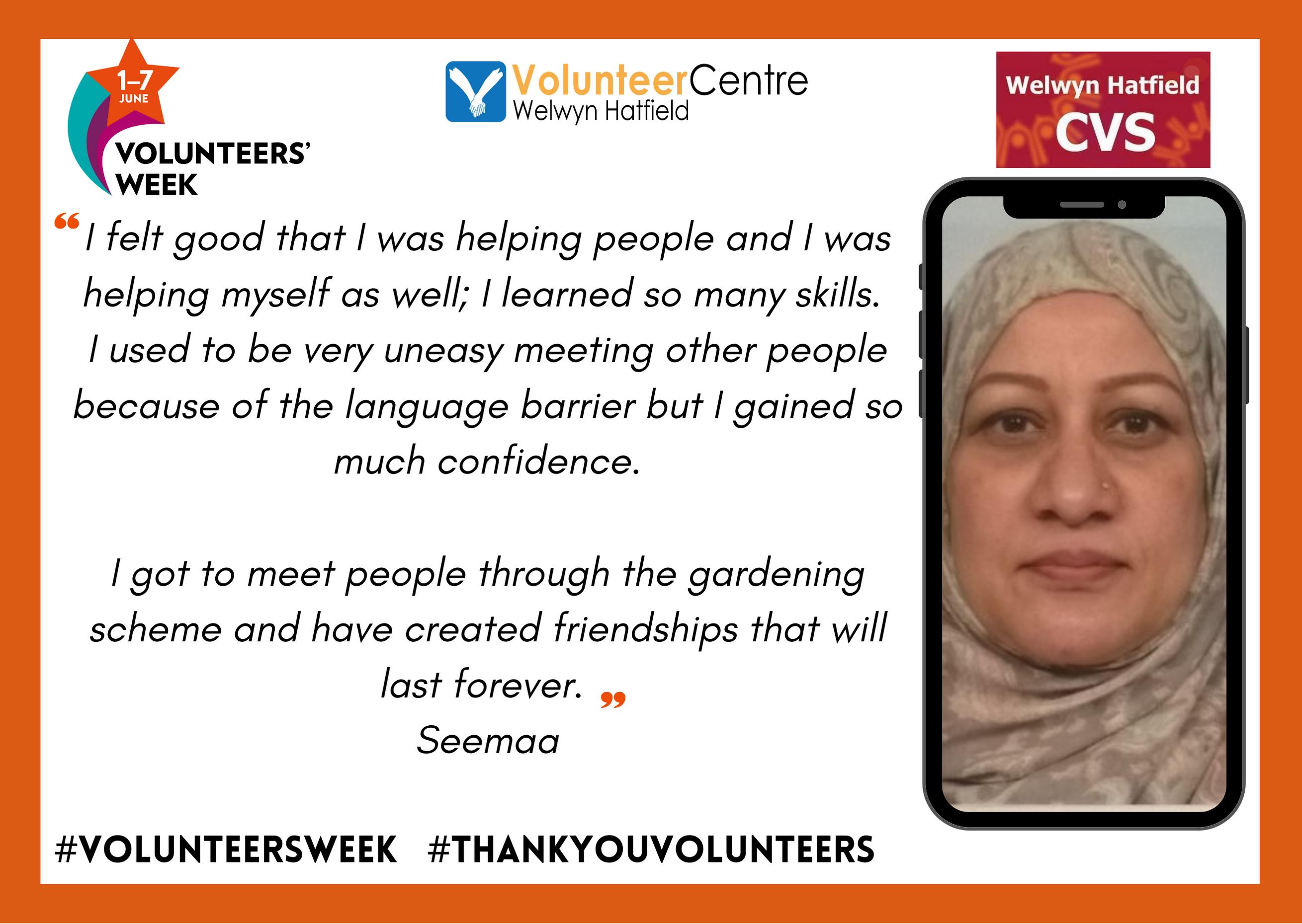 Seemaa – WHCVS Blooming Marvellous Gardening Scheme Volunteer